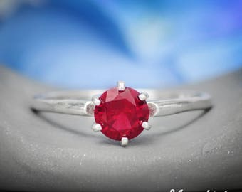 Classic Solitaire Ring - Sterling Silver Ruby Engagement Ring - Vintage-Style Proposal Ring - July Birthstone Ring - Ruby Gemstone Ring