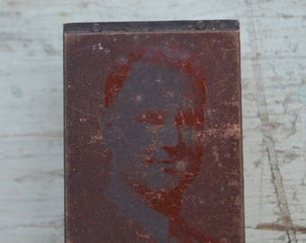 Antique Vintage Photo Photography Wood Block Letterpress Printing Male Man