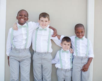 Dusty Green Bow Tie, Dusty Shale Suspenders, or Set for Adults & Children, Made in USA, Use code TENOFF5 at checkout for 10% off 5 or more!