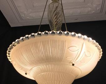 Vintage 3 Chain Peach Glass Art Deco Ceiling Light Fixture