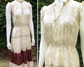 70s Indian Cotton & Lurex Dip Dye Dress, Size M