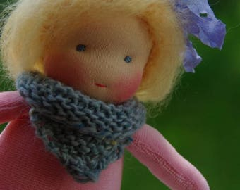 Violette Natural Fibers Doll Waldorf Inspired Doll by Atelier Lavendel Pocket Doll Cuddle Doll 7in OOAK doll soft toy ECO friendly