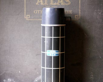 Antique Black and White Check Thermos - Bottle No. 2434