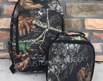 Camo Backpack and Lunchbox with FREE Monogram or name, Back to School, Boys Backpack and Lunchbox Set