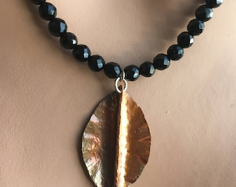 Copper Leaf Pendant Necklace with Colorful Jasper and Onyx, Fold Formed Copper