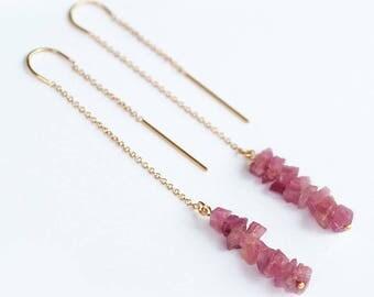 Raw Pink Tourmaline Earrings - Rough Tourmaline Earrings - Long Gold Dangle Earring - Ear Thread Earrings - October Birthstone Earrings