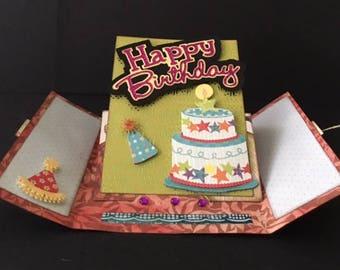 Happy Birthday Pedestal Gate-Fold Card Kit, SVG & DS Compatible