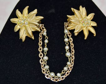 Vintage Sweater Clips with Gold Tone Metal Flowers AB Rhinestones and Faux Pearl Chain