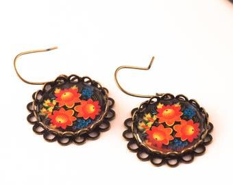 Red Flower Earrings, RED Earrings, Floral Earrings, Flower Earrings, Spanish Earrings, Red Flowers, Gift For Her, Dangle Earrings, Everyday
