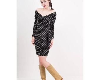 Vintage Betsey Johnson / 1980s Punk label black cotton lycra bodycon mini dress / Polka dot / Sweetheart neckline / Off the shoulder / S