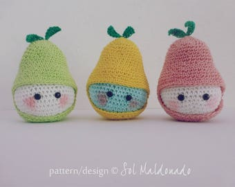 Pear amigurumi PDF - crochet tiny beginner tutorial - playful food, fruit toy, children gift - Instant DOWNLOAD