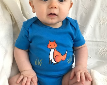 Fox Baby/Organic baby clothes Hand Painted Bodysuit / blue onezee, cute baby clothes, fox,baby boy blue