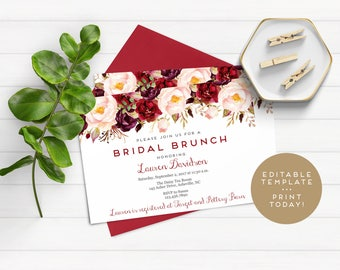 Editable Bridal Shower Template, Bridal Brunch Invitation Template, Bridal Shower Invitation Template, Editable Fall Invitation Template
