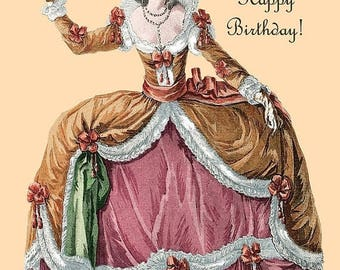 You Take the Cake! Happy Birthday! Marie Antoinette Postcards. Marie Antoinette. 4x6 Postcard. Marie Antoinette Wig. Marie Antoinette Card.