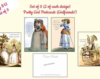 Set of 8 Pretty Girl Postcards ~ Girlfriends! ~ Funny Postcards ~ Marie Antoinette Cards ~ Jane Austen ~ Funny Quotes ~ Funny Sayings ~