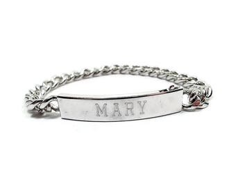 Speidel Vintage Personalized Mary Name ID Bracelet Rhodium Electroplate Etched Engraved Silver Tone Oval Chain Link with Box Clasp Retro