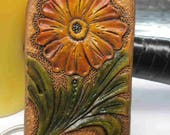 Western leather keychain, custom keychains, flower key ring, tooled leather, cool gift