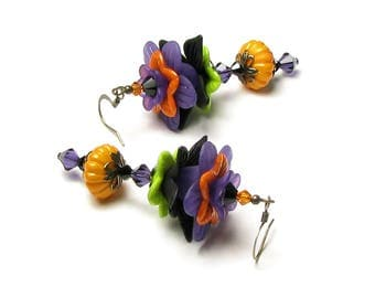 Long Spooky Halloween Witch Color Stripe Earrings Swarovski Crystal Jewelry Autumn Flower Black Purple Orange Green Magic Witchcraft Costume