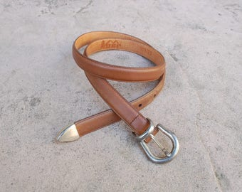 Vintage Womens Medium Large REI Belt 1990 Tan Brown Leather Silver Buckle High Waisted Boho Hippie Hipster Fashion Concho Thin Skinny Belt