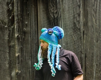 Octopus Hat, CUSTOM ORDER, Large Child to Adult Size, Kraken Hat, Halloween Costume, Sea Creature, Festival Wear, Cthulhu, Cosplay, Ocean