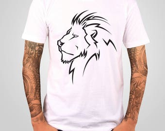 Lion T Shirt , Animal Shirt , Mens T Shirt , White T Shirt , Lion Tee , American Apparel , Lion Head T Shirt , Men's T-shirt , Art T-shirt