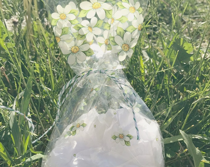 Daisy Cellophane Bag, Spring Flowers, Wedding Favor Bags, Treat, Candy, Cookie, Tea Party, Clear Cello, Product, Merchandise Bags