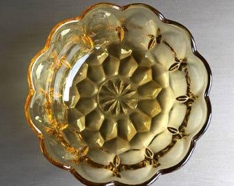 Yellow Glass Dessert Bowls Scalloped Dishes Vintage Set 6 - #J2103
