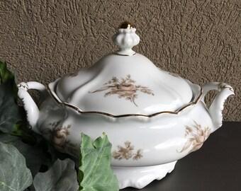 Sepia Rose Covered Vegetable Bowl Johann Haviland Bavaria Vintage China ~ #R0080