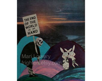 Weird Wall Art 8.5 x 11 Inch Mixed Media Collage Print, Surreal Colorful Skull and Bunny Rabbit Art, Strange Decor