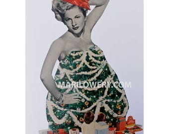 One of a Kind Paper Collage Christmas Tree Art, 12 x 9 Inch Surreal Art, Retro Pin Up, Unique Wall Decor