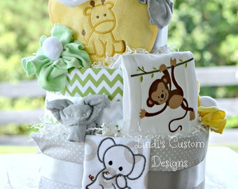 Jungle Babies Diaper Cake, Animal Safari Gender Neutral Diaper Cake, Elephant Monkey Giraffe Diaper Cake, Baby Shower Cake Table Centerpiece