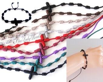 Knotted Rosary Bracelet, First Communion, Confirmation, Baptism, Wedding Favors, Cross Bracelet, Friendship, Decenario, Our Lady Beads KN001