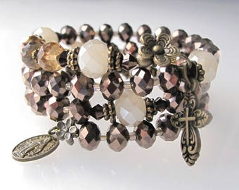 Wrap Rosary Bracelet,Brown AB Crystal Wrist Rosary,Bridal,Confirmation,Communion,Mothers,Godmothers,Gift,Catholic Gift,Our Lady Beads,#652