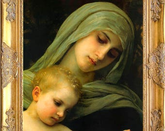 The Madonna and Christ Child, Framed, Print on Canvas, William Bouguereau Art