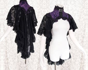 Capelet, purple with black, shrug, goth, gothic, Victorian, Somnia Romantica, approx size small see item details for measurements