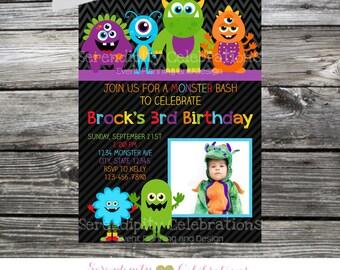 Monster Bash Invitation, Monster Party Birthday Invite, Monsters, Baby Shower Invite, Printed Invitations, Monster Party, Monster Invitation