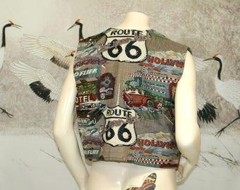 Route 66 Tapestry Vest All-Over Print Vtg Boho Vest / Size Large
