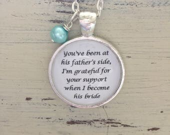 STEPMother of the groom pendant necklace