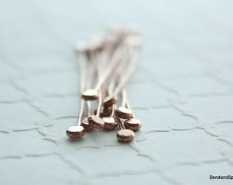 Copper Headpins, Hammered Headpins, 10 Double End Head Pins