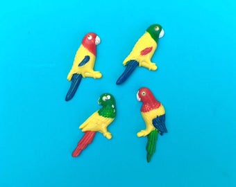 Vintage 80s Set of 4 Plastic Parrot Fridge Magnets