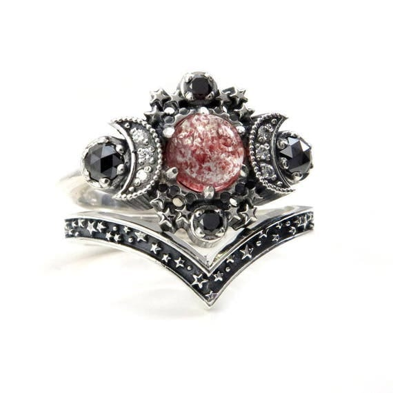 Strawberry Quartz Cosmos Moon and Star Celestial Engagement Ring Set - Sterling Silver