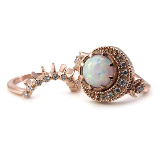 Lab White Opal Moon Phase Engagement Ring Set with Diamond Sunray Wedding Band - 14k Yellow, Rose or Palladium White Gold