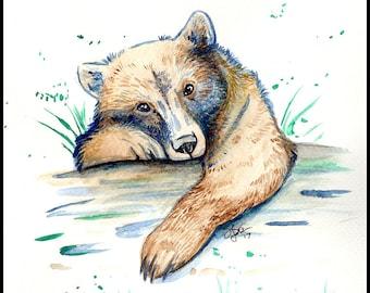 Bear Cub Original Watercolor Painting