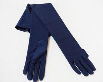 """Matte Satin Navy Blue Opera 22"""" Ladies Gloves"""