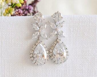 Wedding Earrings, Rose Gold Bridal Earrings, Crystal Leaf Clover Dangle Drop Earrings, Teardrop Earrings, Bridal Jewelry, Bridesmaid, MAGGIE