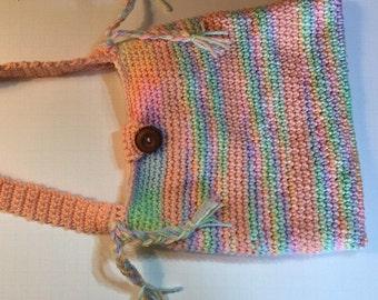 Crochet Purse, Crochet Shoulder Bag, Peach Variegated Crochet, shoulder bag, Lined shoulder bag