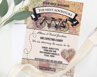 Neutral Baby Shower Invites - Rustic Bicycle Vintage invitations - Neutral Baby Shower - Instant Download