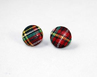 Handmade Fabric Button Earrings Red Tartan Earrings - Tartan Theme Earrings -Fabric Covered Button Earrings