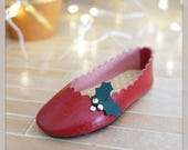 Christmas Special Edition Red shoes for Minifee doll on box; BJD shoes by Summomo