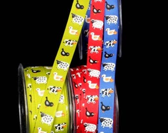 Farm Animals Grosgrain, 5/8 inch wide, 1 YARD, 3 COLORS, Lime, Red Blue, Kids Clothes, Crafts, Birthdays, Baby Gifts, Showers and Hair Bows